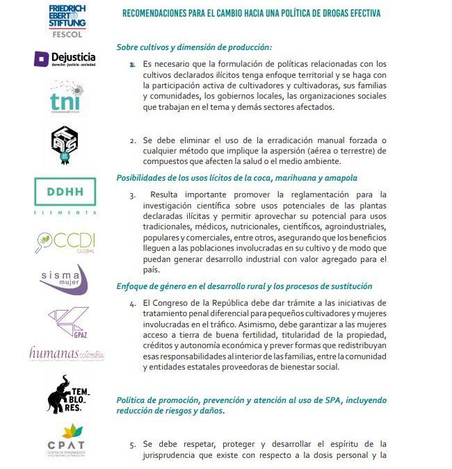 Alianza de organizaciones de sociedad civil presenta documento «acciones para la reforma» de política de drogas.